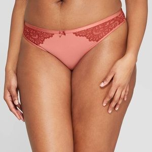 6b2363df0c07 NWT Auden Faded Rose Micro & Lace Thong Size S